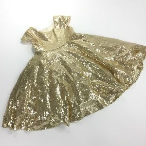 Other - Girl's Gold Sequined Holiday Dress VGUC